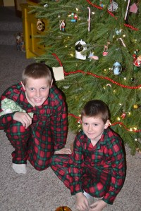 Rusty and Tyler in their Christmas PJs