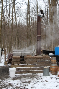 Turning the sap into syrup.