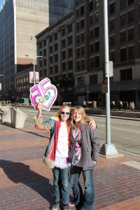 Gracie and Molly in downtown Cleveland.