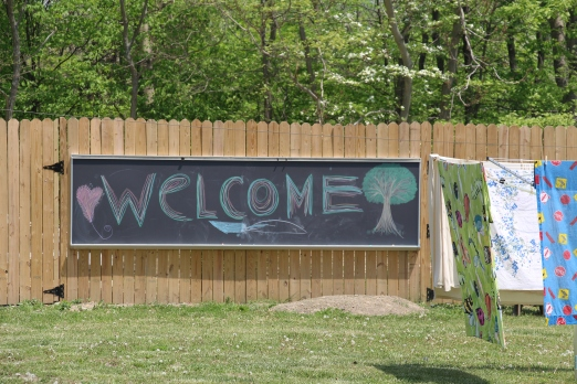 The welcome sign that the kids made for our visitors.