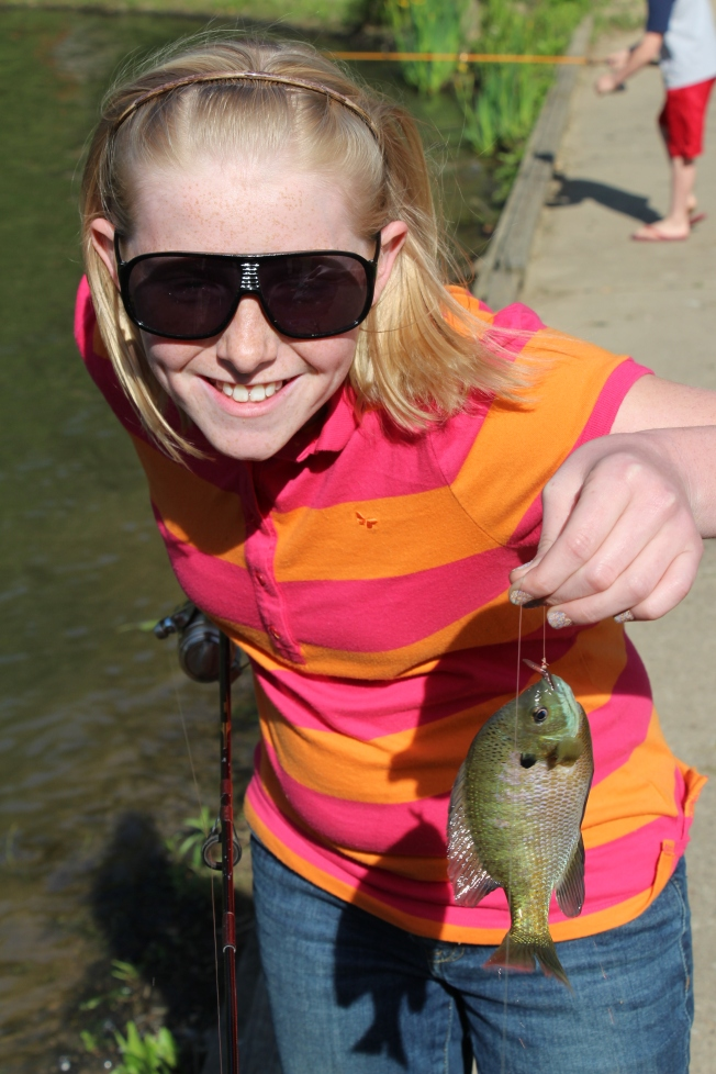 Then she caught a bigger Blue Gill