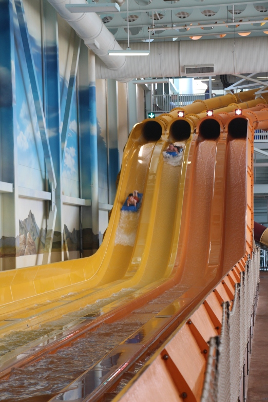Rusty's favorite slide was the Cheetah Racer. Rusty and Tyler racing...