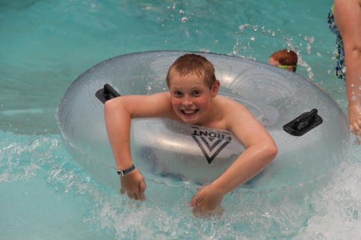 Rusty in the wave pool.