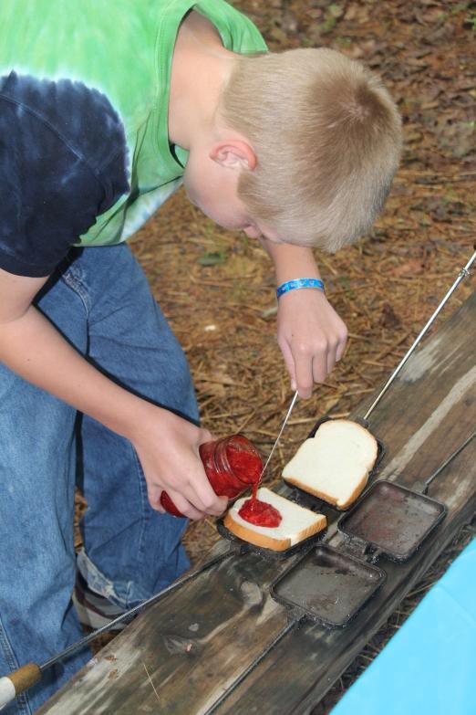 Rusty making mountain pies.