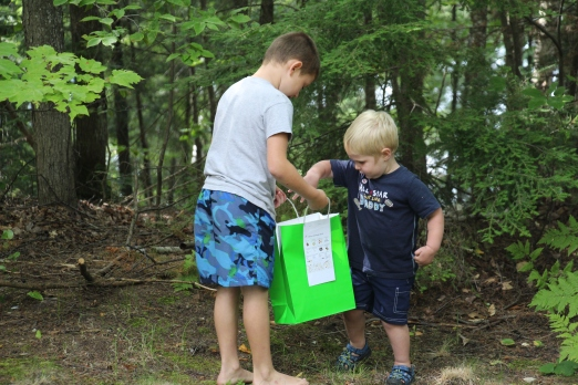 We had some activities planned for the kids to do. Here Tyler and Sammy pair up for a nature scavenger hunt..