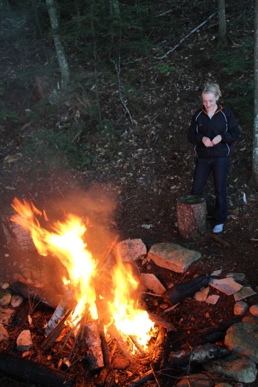 "Evenings were spent around a campfire as we told stories, played ""get to know you"" games and roasted marshmallows. Here is Gracie's one match fire!"
