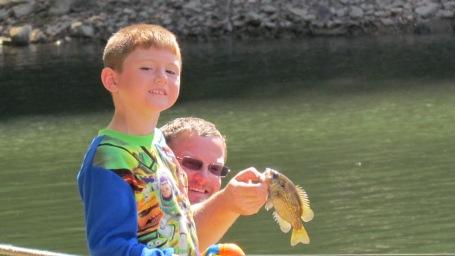 Tyler fishing in his PJs. :)