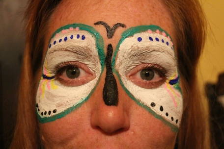 Molly painted a butterfly on my face.