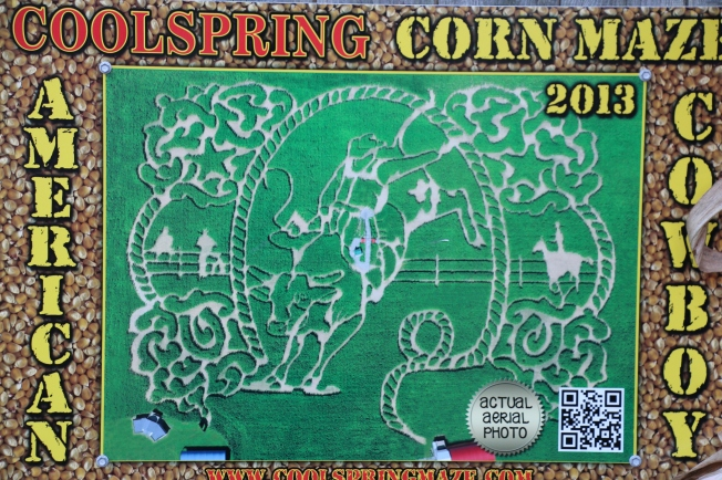 An aerial view of the cornmaze.
