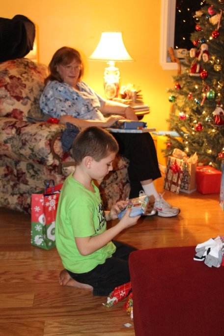 Opening gifts..