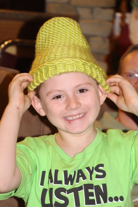 Gracie made a new hat for Tyler in his favorite color- lime green.