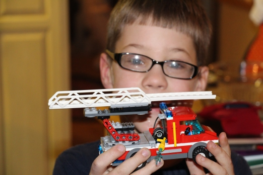 Ozzie with one of his completed lego sets.