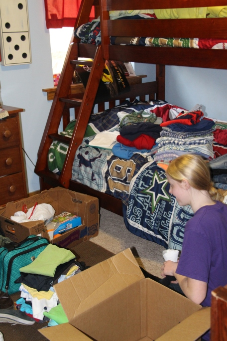 Molly organizing and taking inventory.