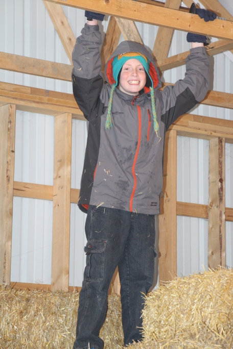 Rusty playing in the barn.