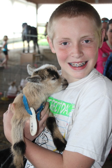 Rusty and a baby goat