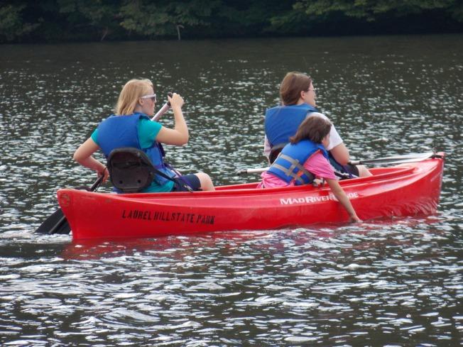 Gracie canoeing.