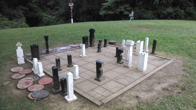 The life sized checker/chess board.