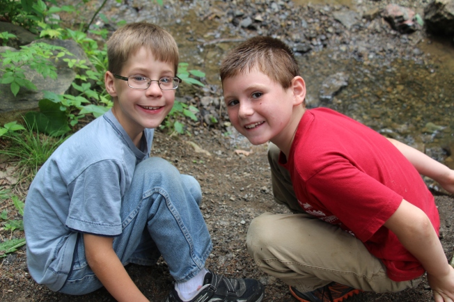 The little boys enjoying the creek that ran by our camp site.
