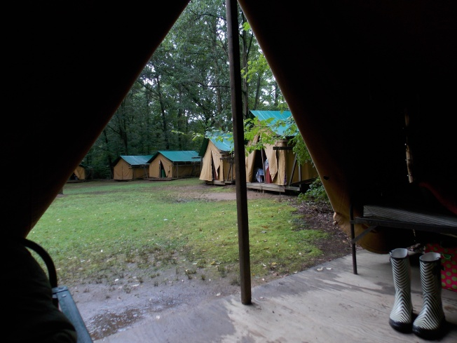The view from her tent where she spent the week bunking with 3 other girls.
