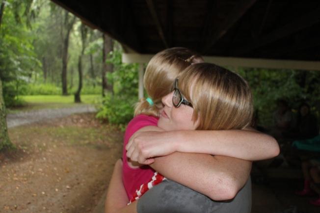 Saying goodbye at camp.