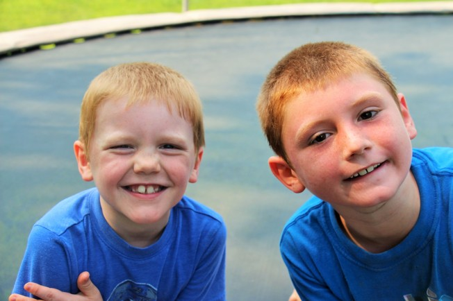 Tyler and Nate enjoyed playing together on the trampoline.