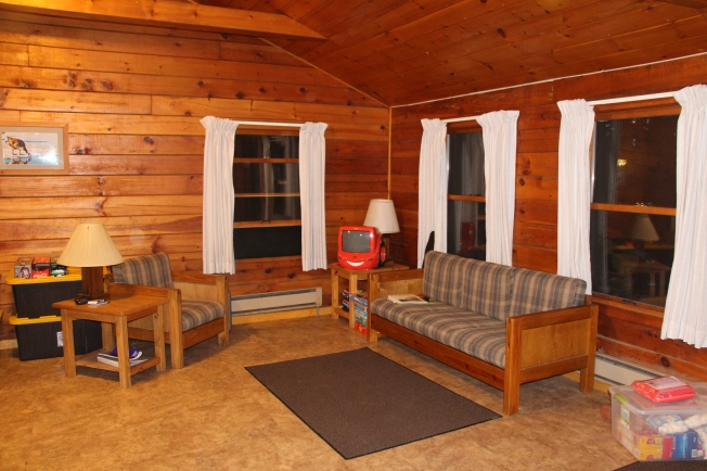 Inside our cabin at Pymatuning Lake.