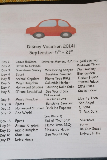 Our itinerary...So excited!!!