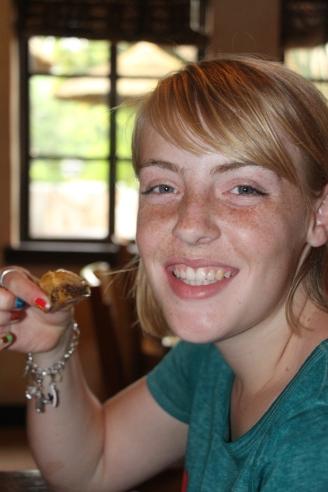 Grace enjoying the Baklava.