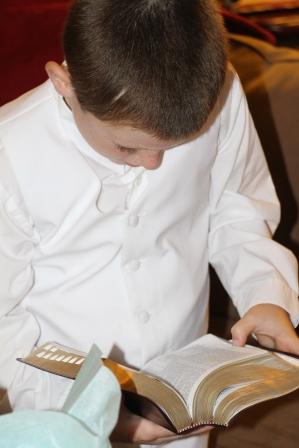 Tyler receiving his own scriptures.