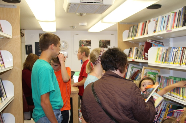 Inside the bookmobile. It is so cute! :)
