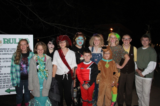Everyone dressed up, ready for a night of fun!