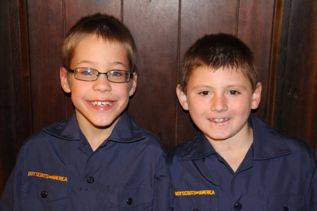 Ozzie and Tyler- cub scouts and brothers.