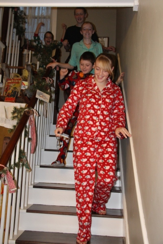 Christmas morning as they decending  the stairs to see if Santa came.