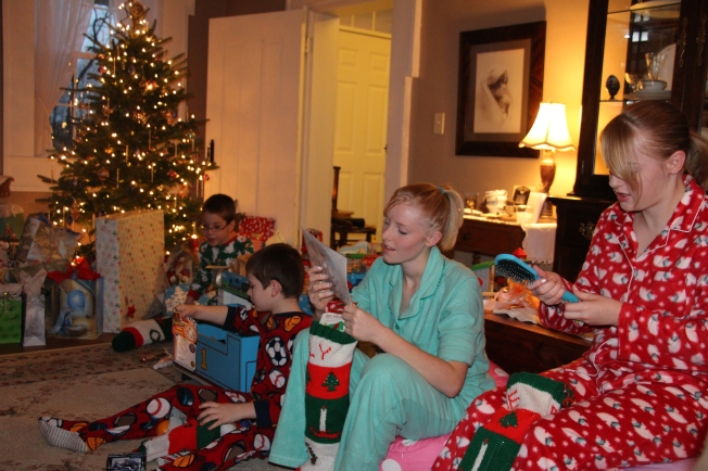 Like always the highlight of Christmas morning was opening stockings.