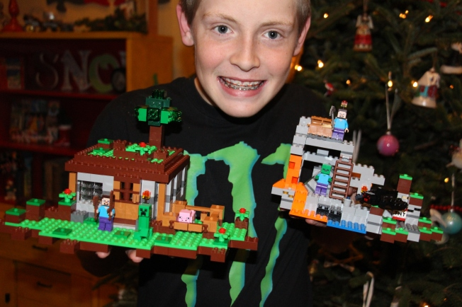 Rusty's completed Minecraft Lego sets.