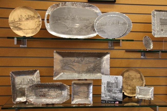 Some of the pieces they had for sale featuring Pittsburgh landmarks.