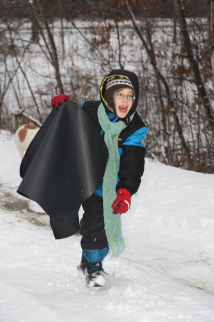Ozzie, so excited to go sledding!