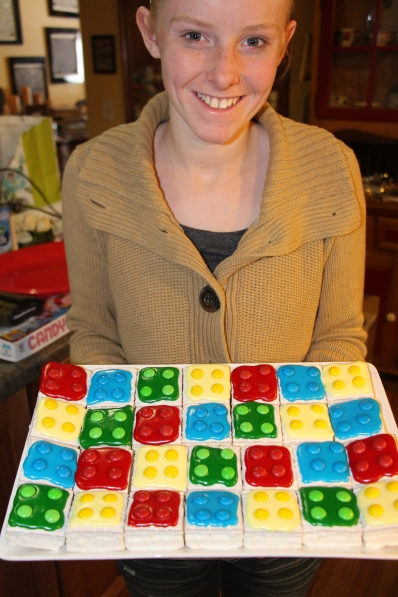 Molly holding the finished blocks.