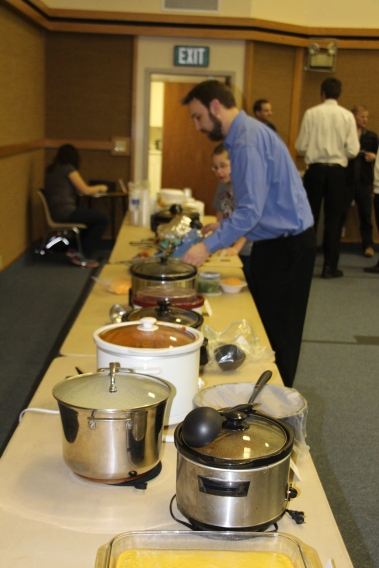 The pots of chili ready to be judged.