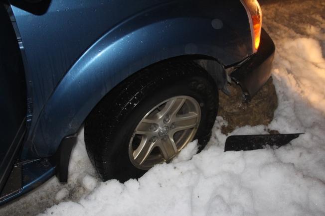 A torn tire, a crumpled rim, a broken bumper...*sigh*
