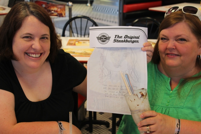 "Our friend, Wendy, couldn't join us so we made a ""Flat Wendy"" so she could join in the fun. Here she is, complee with he very own limerick:  Thee once was a girl named Wendy, who was as sweet as candy. She came for the fries, and we drew in her eyes. Now she is good and bendy."""