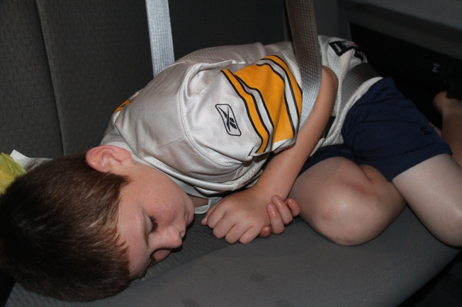 Tyler fell asleep in the final minutes of the trip home.