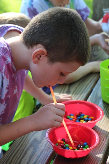 The M&M challenge was a hit. Tyler was a pro at moving those M&Ms one at a time, from one bowl to the other, using only lung power and a straw.