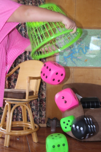 I loved playing Yathzee with the giant dice and laundry basket we brought from home.